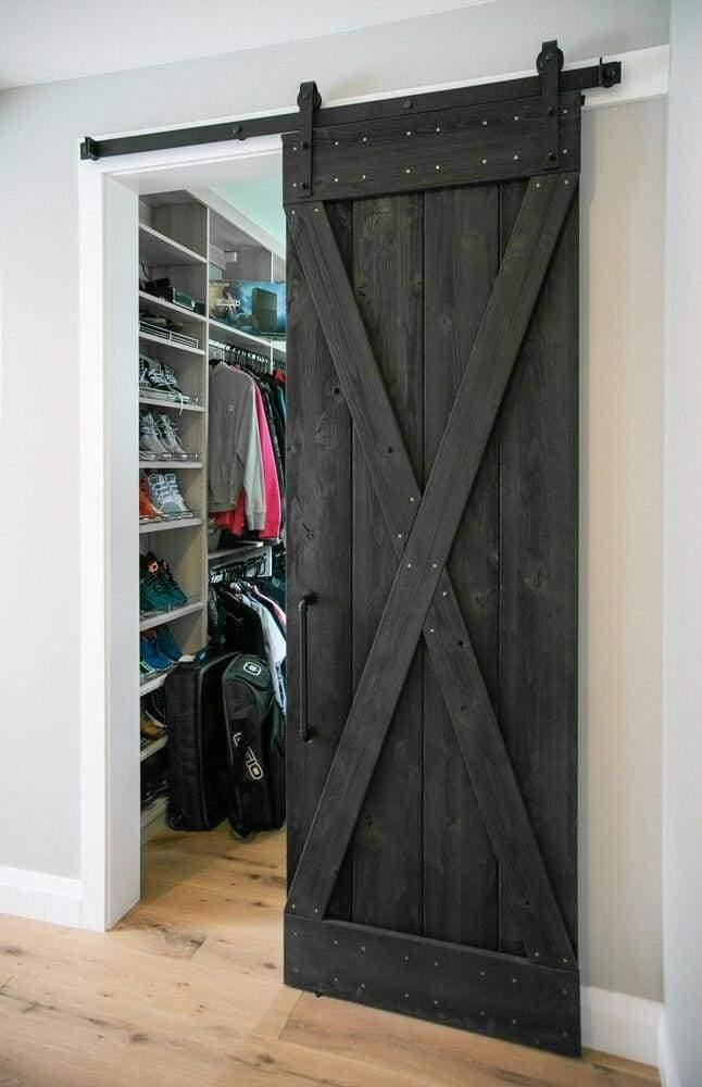Weathered Wood Sliding Barn Door Kit - Sliding Barn Door Hardware by RealCraft