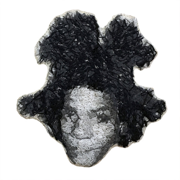 Jean-Michel Basquiat Embroidered Portrait Pin with leather backing and silver pin back. Brooch. From HOW COULD YOU? clothing's artist series.
