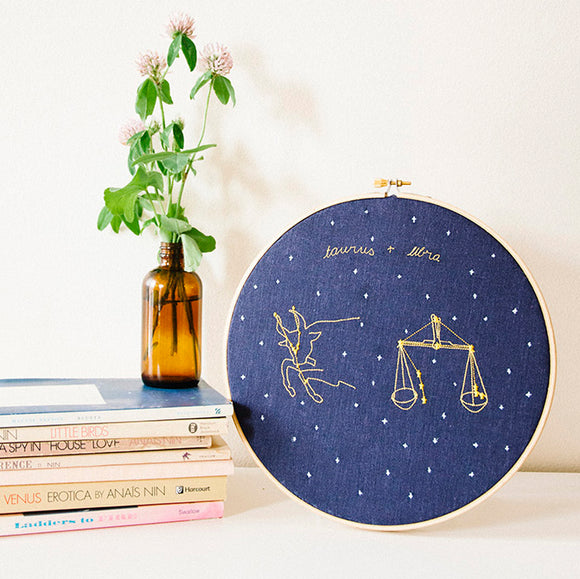 Custom Zodiac Embroidery with 2 Signs