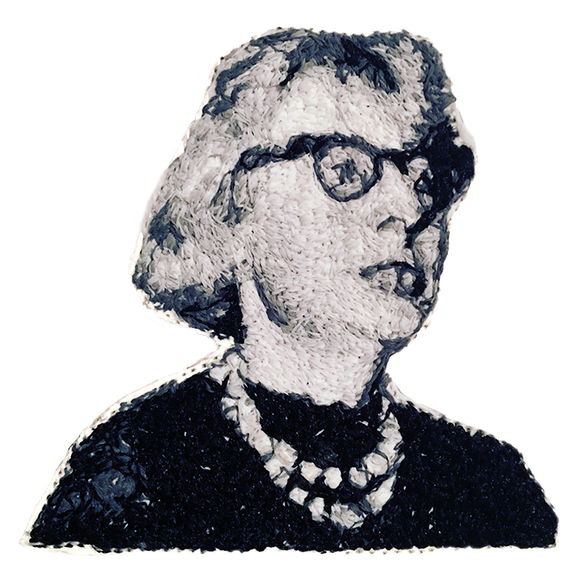 Jane Jacobs Embroidered Portrait Pin with leather backing and silver pin back. Brooch. From HOW COULD YOU? clothing's feminist series. NEW YORK