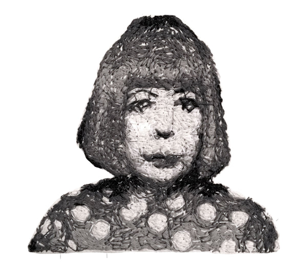 Yayoi Kusama Embroidered Portrait Pin with leather backing and silver pin back. Brooch. From HOW COULD YOU? clothing's artist series.