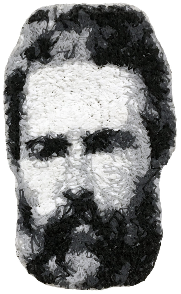 Herman Melville Embroidered Portrait Pin with leather backing and silver pin back. Brooch. From HOW COULD YOU? clothing's artist series. Moby Dick