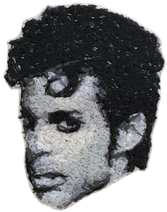 Prince Embroidered Portrait Pin with leather backing and silver pin back. Brooch. From HOW COULD YOU? clothing's musician series.