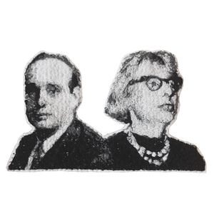 Jane Jacobs and Robert Moses Embroidered Portrait Pin with leather backing and silver pin back. Brooch. From HOW COULD YOU? clothing's feminist series. NEW YORK city planning.