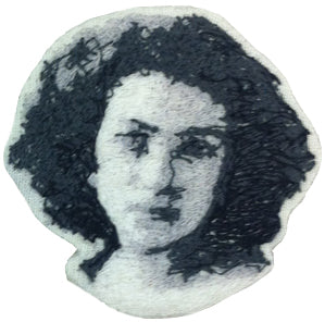 Sarah Bernhardt Embroidered Portrait Pin with leather backing and silver pin back. Brooch. From HOW COULD YOU? clothing's artist series.