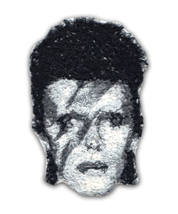 Ziggy Stardust Embroidered Portrait Pin with leather backing and silver pin back. Brooch. From HOW COULD YOU? clothing's musician series.