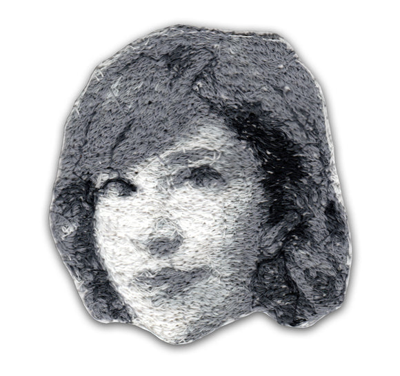Carrie Brownstein Embroidered Portrait Pin with leather backing and silver pin back. Brooch. From HOW COULD YOU? clothing's TodayTix series.