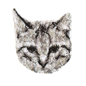 Cat Embroidered Portrait Pin with leather backing and silver pin back. Brooch. From HOW COULD YOU? clothing's pet portrait series.