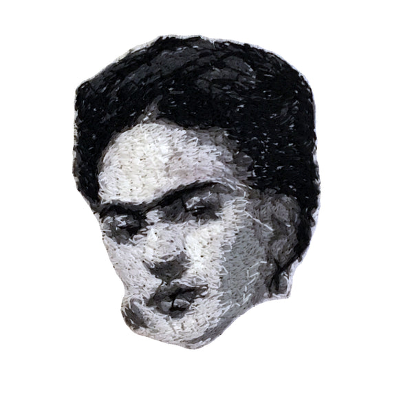 Frida Kahlo Embroidered Portrait Pin with leather backing and silver pin back. Brooch. From HOW COULD YOU? clothing's artist series.