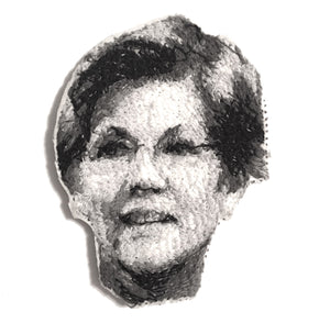 Senator Elizabeth Warren Embroidered Portrait Pin with leather backing and silver pin back. Brooch. From HOW COULD YOU? clothing's feminist series.