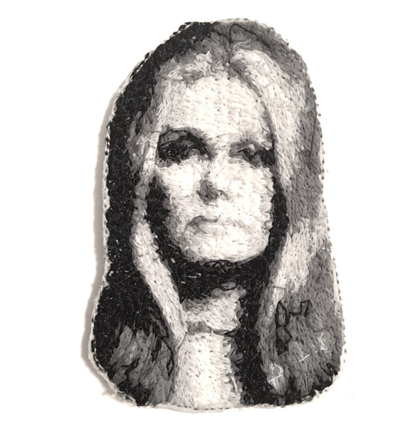 Gloria Steinem Embroidered Portrait Pin with leather backing and silver pin back. Brooch. From HOW COULD YOU? clothing's feminist series.