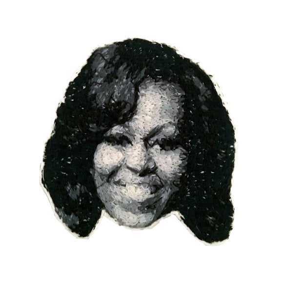 First Lady Michelle Obama Embroidered Portrait Pin with leather backing and silver pin back. Brooch. From HOW COULD YOU? clothing's feminist series.