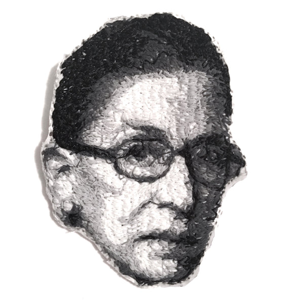 Ruth Bader Ginsburg Notorious RBG Embroidered Portrait Pin with leather backing and silver pin back. Brooch. From HOW COULD YOU? clothing's feminist series.