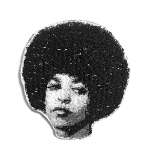 Angela Davis Embroidered Portrait Pin with leather backing and silver pin back. Brooch. From HOW COULD YOU? clothing's feminist series.
