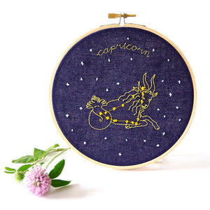 capricorn Zodiac Constellation Embroidery with clover stitched by mia alexi