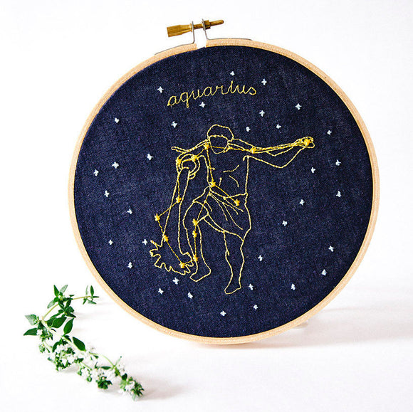 Aquarius Zodiac Constellation Embroidery. Hoop art - blue linen - how could you? by mia weiner