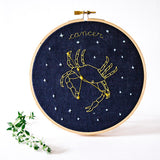 cancer crab Zodiac Constellation Embroidery. Hoop art - blue linen - how could you? by mia weiner