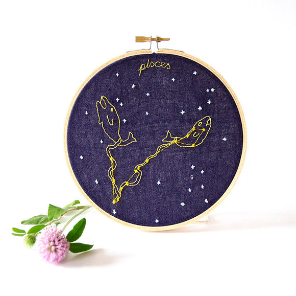 Pisces Zodiac Embroidery (Feb. 19 - March 20)