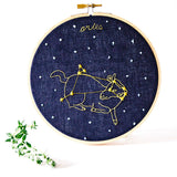 Aries Zodiac Constellation Embroidery. Hoop art - blue linen