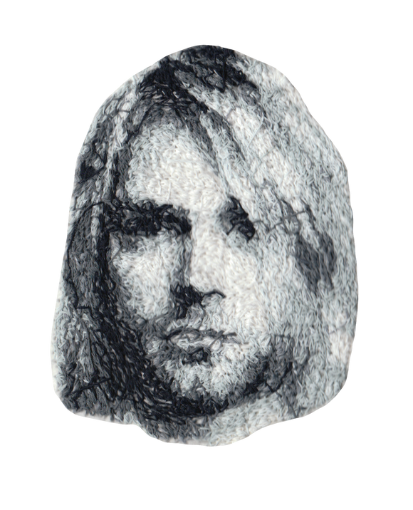 Kurt Cobain Embroidered Portrait Pin with leather backing and silver pin back. Brooch. From HOW COULD YOU? clothing's TodayTix series.