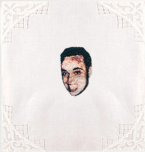 Custom Embroidered Portrait on a Vintage Hanky
