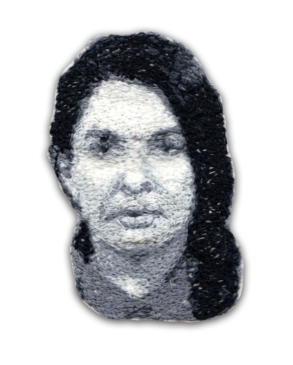Marina Abramovic Embroidered Portrait Pin with leather backing and silver pin back. Brooch. From HOW COULD YOU? clothing's artist series.