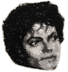 Micael Jackson Embroidered Portrait Pin with leather backing and silver pin back. Brooch. From HOW COULD YOU? clothing's musician series.