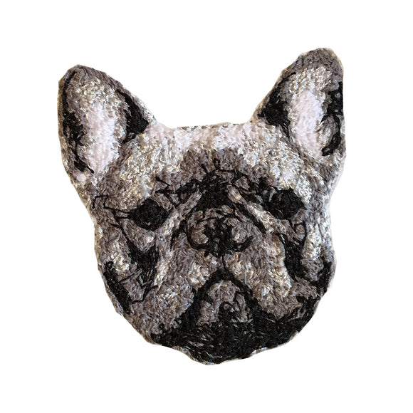 Frenchie Pup Embroidered Portrait Pin with leather backing and silver pin back. Brooch. From HOW COULD YOU? clothing's pet portrait series.