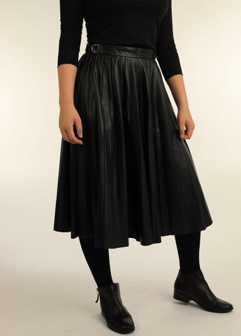 Pleated Black Faux Leather Skirt