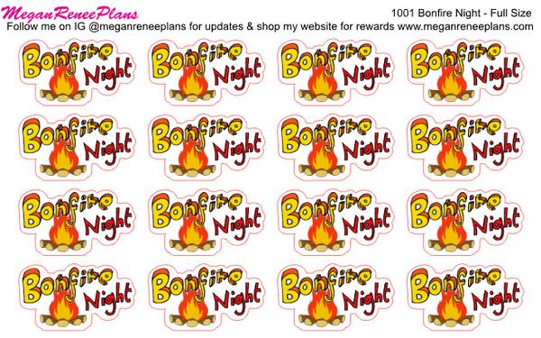 Bonfire Night Functional Matte Planner Stickers