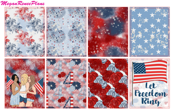 Independence Day Weekly Kit for the Erin Condren Life Planner Vertical