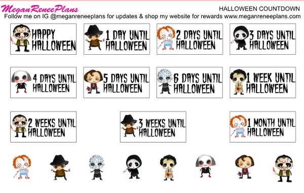 Halloween Countdown Matte Planner Stickers