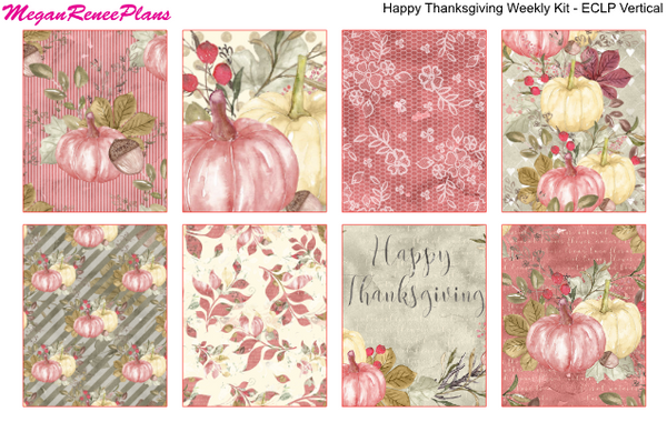 Happy Thanksgiving Weekly Kit for the Erin Condren Life Planner Vertical