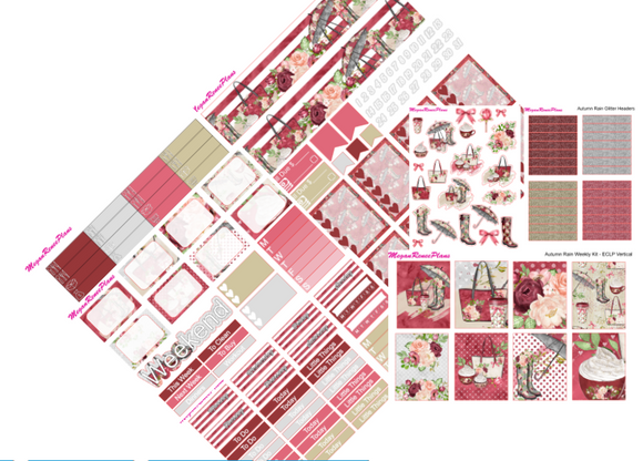 Autumn Rain Weekly Kit for the Erin Condren Life Planner Vertical