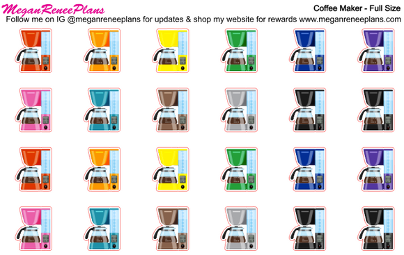 Coffee - Coffee Time - Coffee Maker Planner Stickers