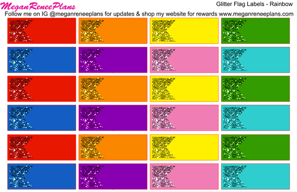 Glitter Flag Labels - Rainbow Color Scheme - MeganReneePlans