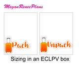 Pack / Unpack Suitcase Planner Stickers - Rainbow Color Scheme - MeganReneePlans