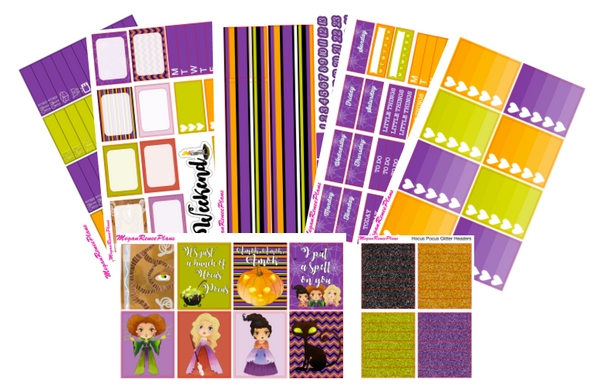 Hocus Pocus themed Halloween Weekly Planner Sticker Kit for the Erin Condren Vertical Life Planner