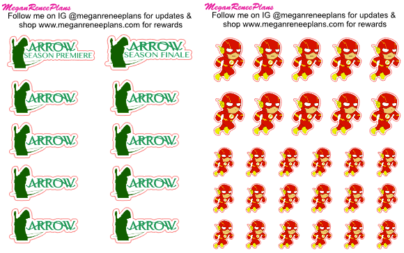 Arrow or Flash themed matte planner stickers