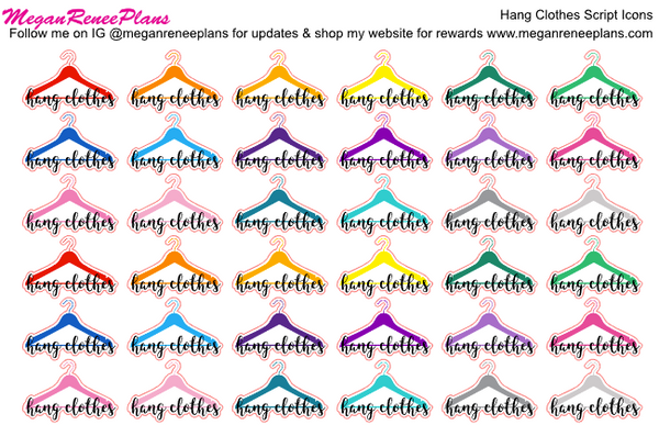 Hang Clothes Script Planner Stickers - MeganReneePlans