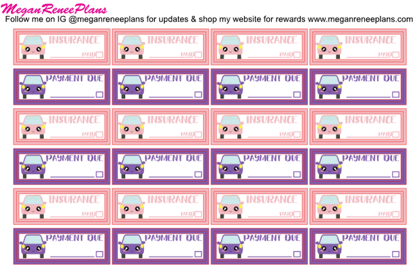Car Insurance / Car Payment Bill Due Planner Sticker Set - MeganReneePlans