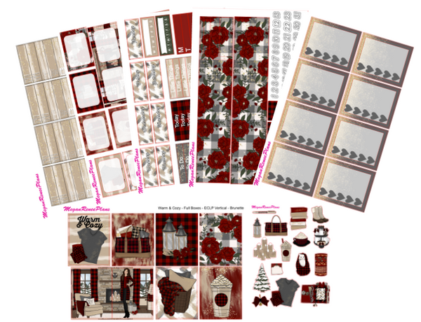 Warm & Cozy Buffalo Plaid Themed Weekly Kit (multiple options) for the Classic Happy Planner - MeganReneePlans