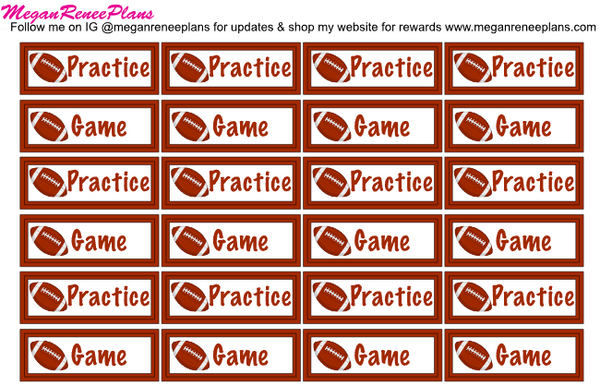 Football Practice / Football Game Planner Stickers - MeganReneePlans