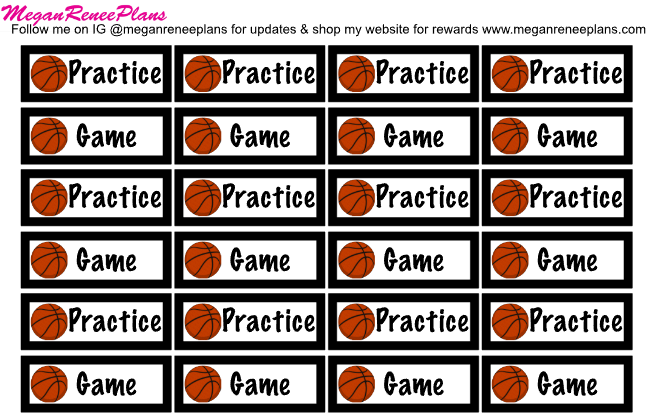 Basketball Practice / Basketball Game Planner Stickers
