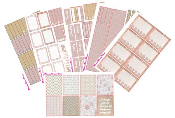 Rose Gold Love Weekly Kit for the Classic Happy Planner - MeganReneePlans
