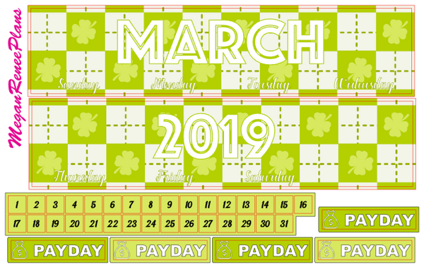MARCH 2020 or 2021 MONTHLY VIEW KIT FOR THE CLASSIC HAPPY PLANNER