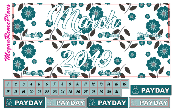 MARCH 2019 FLORAL THEMED MONTHLY VIEW KIT FOR THE ERIN CONDREN LIFE PLANNER