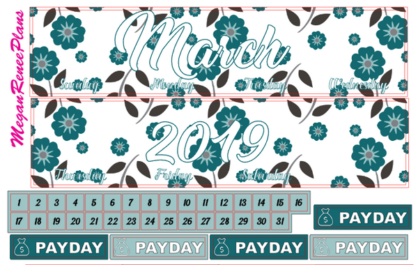 MARCH 2020 or 2021 FLORAL THEMED MONTHLY VIEW KIT FOR THE CLASSIC HAPPY PLANNER