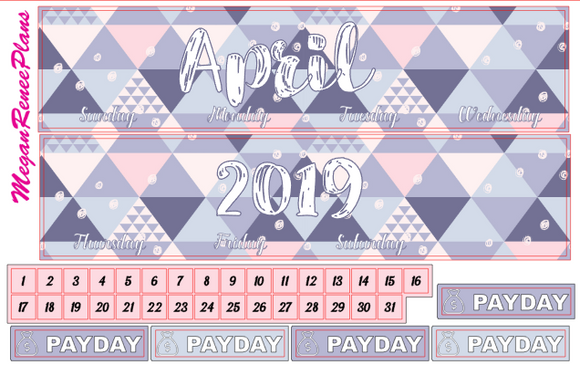 April 2019 Monthly View Planner Kit for the Classic Happy Planner - Pastels