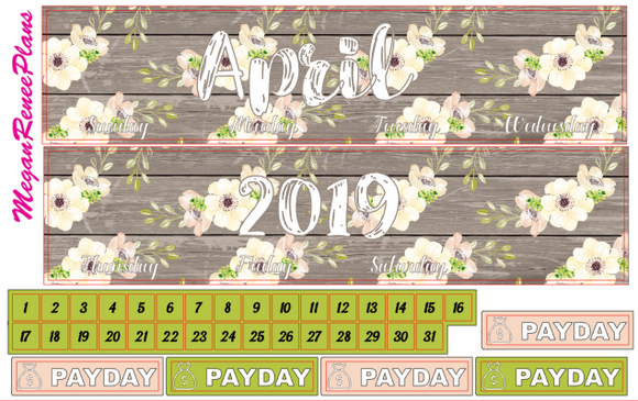 April 2020 Monthly View Planner Kit for the Erin Condren Life Planner - Floral
